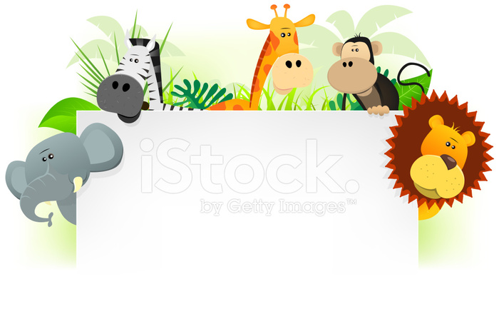 700x440 Cartoon Jungle Animals Letterhead Stock Vector