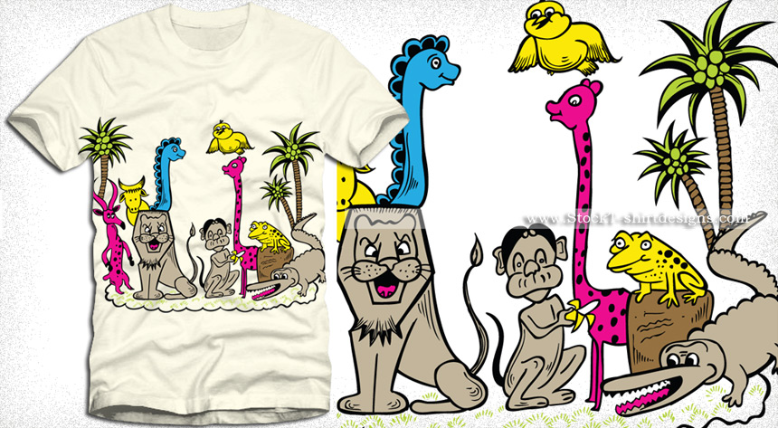 860x473 Cute Cartoon Jungle Animals Vector T Shirt Design Vector T Shirt