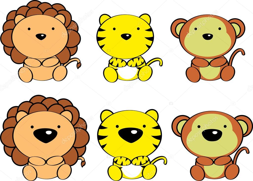 1024x733 Cute Baby Jungle Animals Cartoon Set Stock Vector Hayashix23