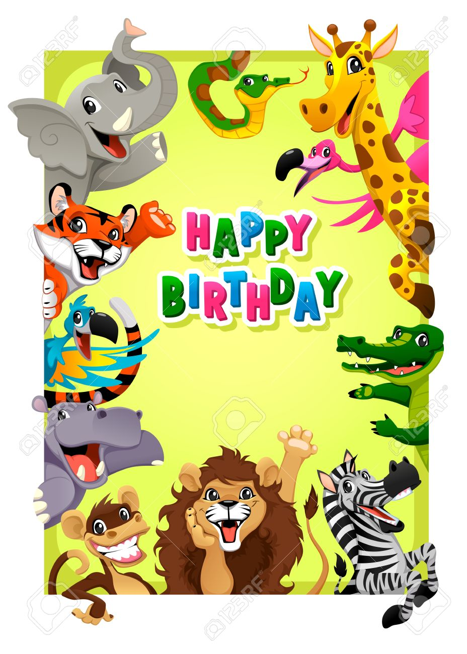 928x1300 Happy Birthday Card With Jungle Animals. Cartoon Vector