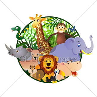 325x325 Vector Jungle Animal Cartoon Gl Stock Images