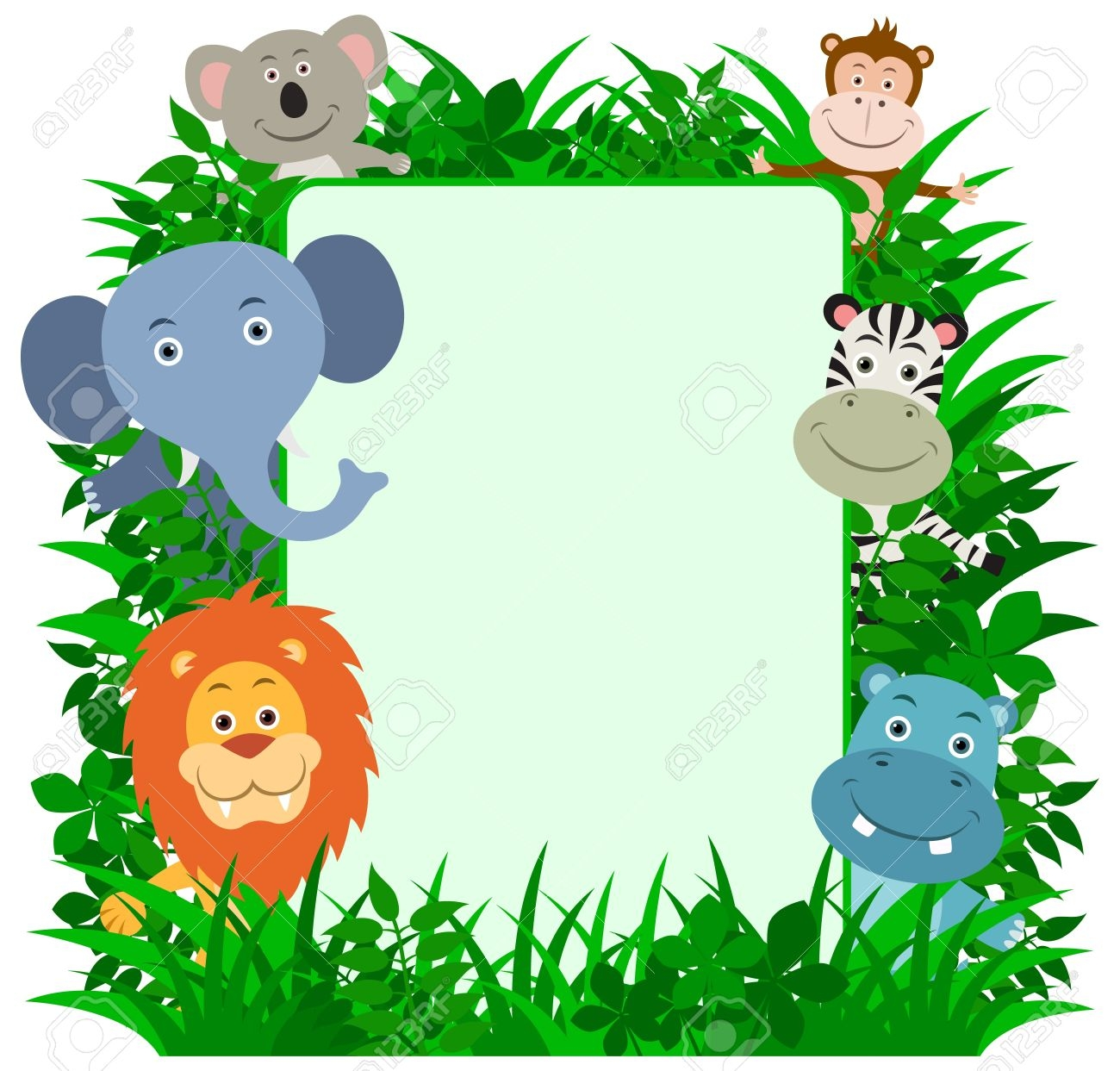 1300x1243 Jungle Animal Clipart Borders