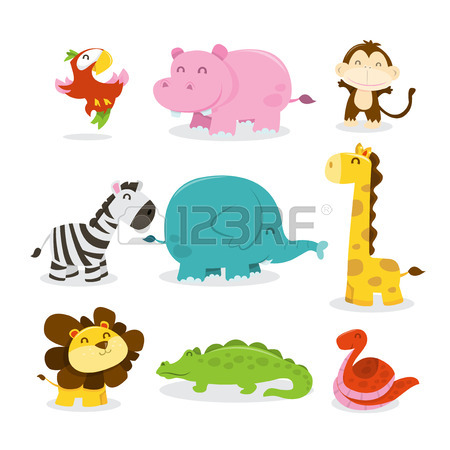 450x450 Illustration Of Different Wildlife Animals Cartoons Royalty Free