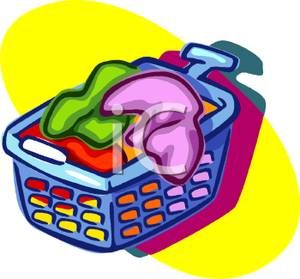 300x279 Colorful Cartoon Of A Basket Of Laundry