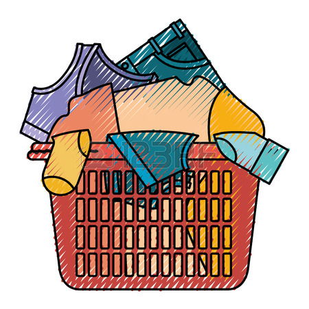 450x450 Colorful Silhouette Of Laundry Basket With Heap Of Clothes Vector