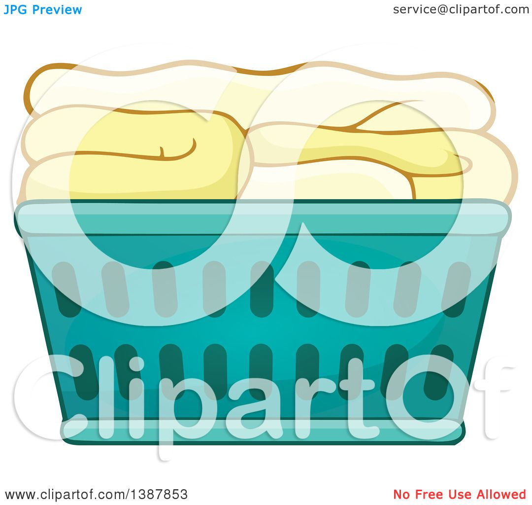 1080x1024 Clipart Of A Cartoon Laundry Basket With Folded Items