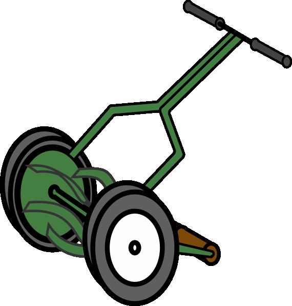 570x596 Cartoon Push Reel Lawn Mower Clip Art