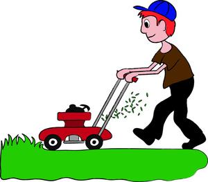 300x263 Cartoon Clipart Lawn Mower
