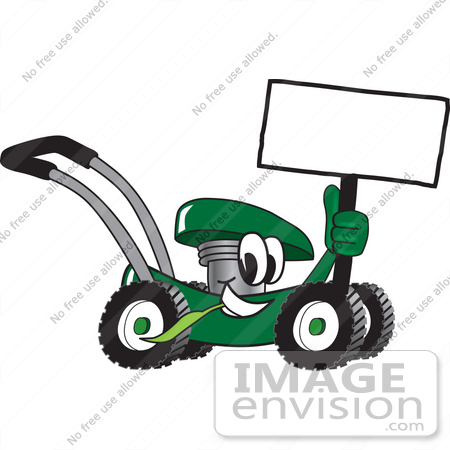 450x450 Cliprt Graphic Of Green Lawn Mower Mascot Character Holding