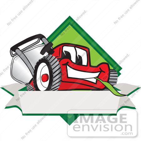 450x450 Clip Art Graphic Of A Red Lawn Mower Mascot Character Facing Front