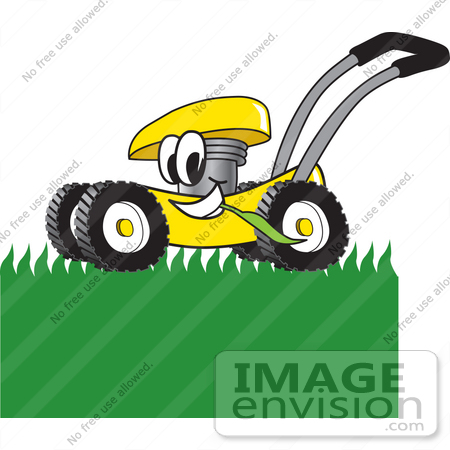 450x450 Clip Art Graphic Of A Yellow Lawn Mower Mascot Character Chewing