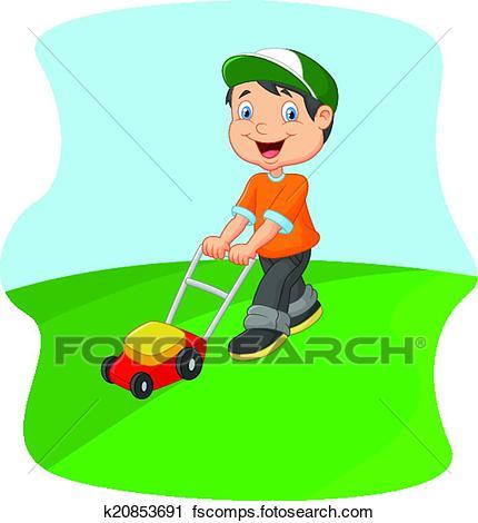 430x470 Clipart Of Young Man Cartoon Cutting Grass Wit K20853691