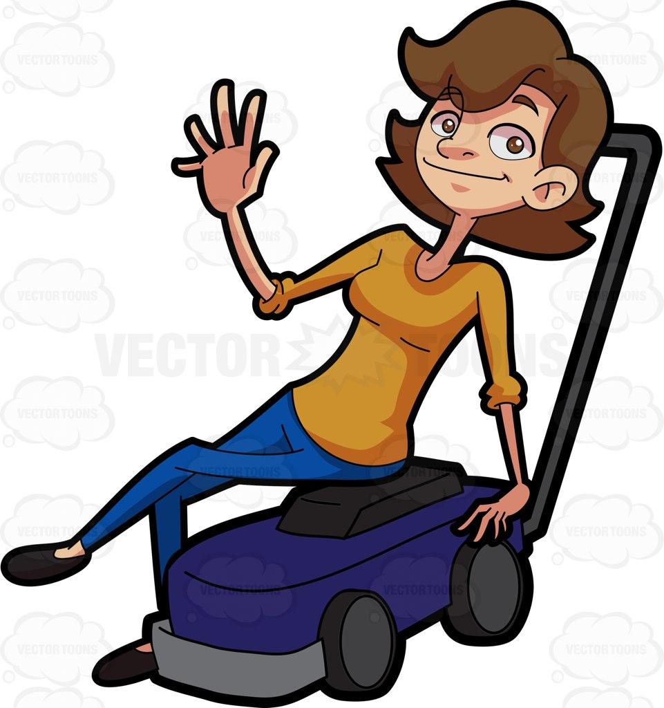 961x1024 A Woman Sitting On A Lawn Mower Cartoon Clipart