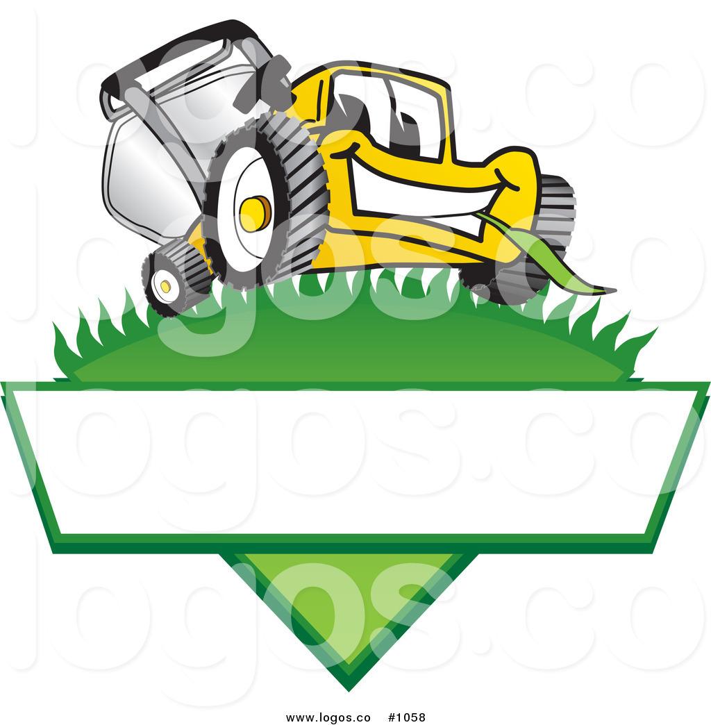 1024x1044 Royalty Free Cartoon Vector Logo Of A Yellow Lawn Mower Mascot