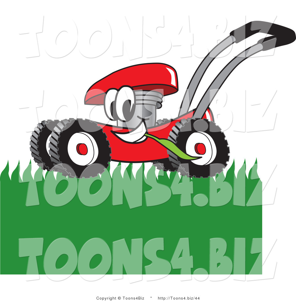 1024x1044 Vector Illustration Of A Red Cartoon Lawn Mower Mascot Mowing
