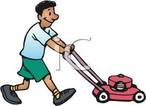 300x218 Art Image A Smiling Man Pushing The Lawn Mower