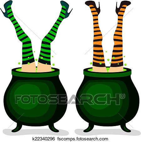 450x455 Clip Art Of Witch Legs From Cauldron K22340296