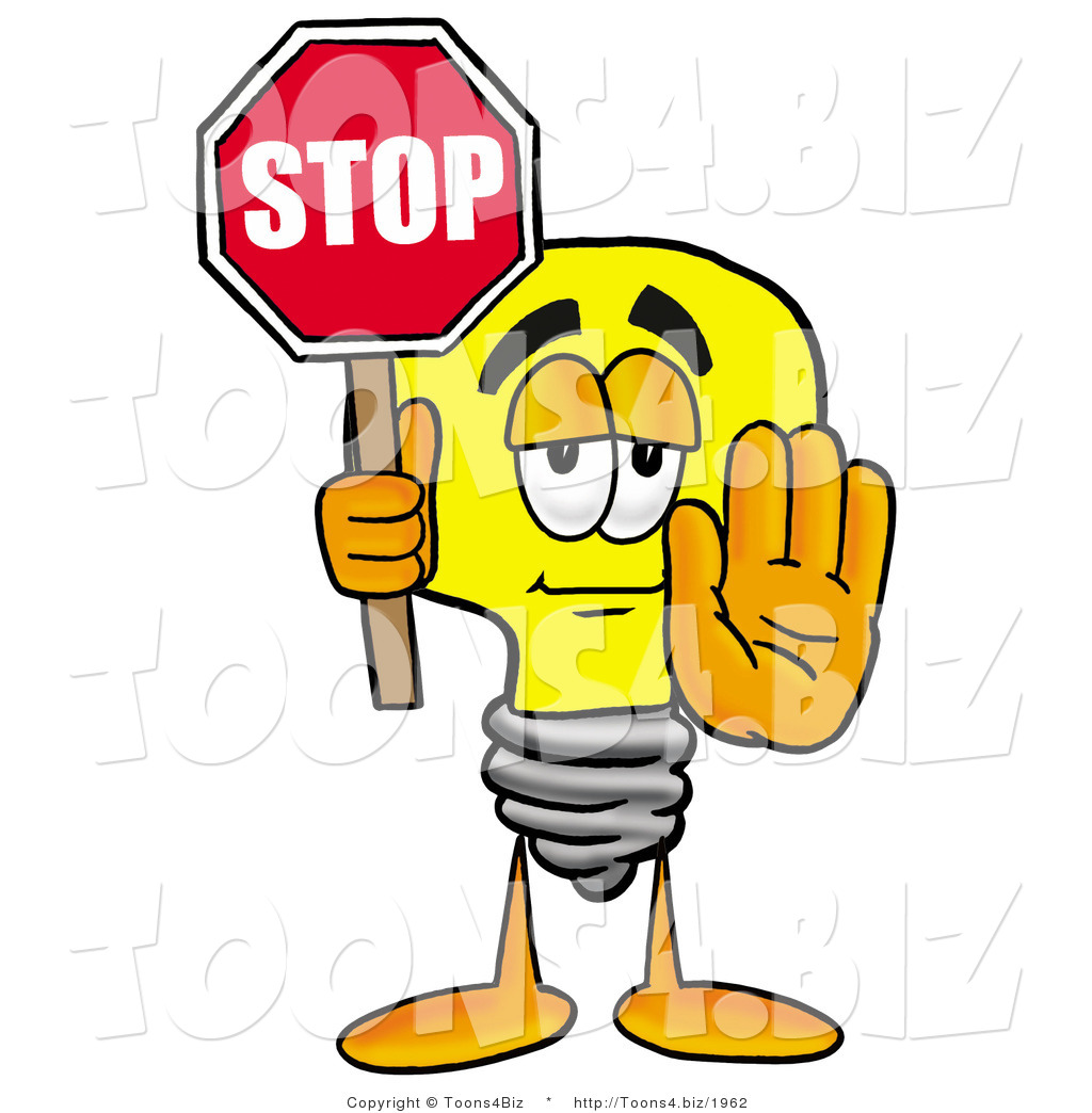 1024x1044 Illustration Of A Cartoon Light Bulb Mascot Holding A Stop Sign By