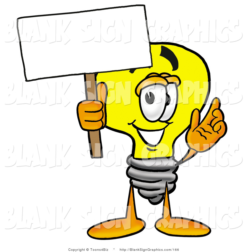 1024x1044 Illustration Of A Happy Light Bulb Holding A Blank Sign And Waving