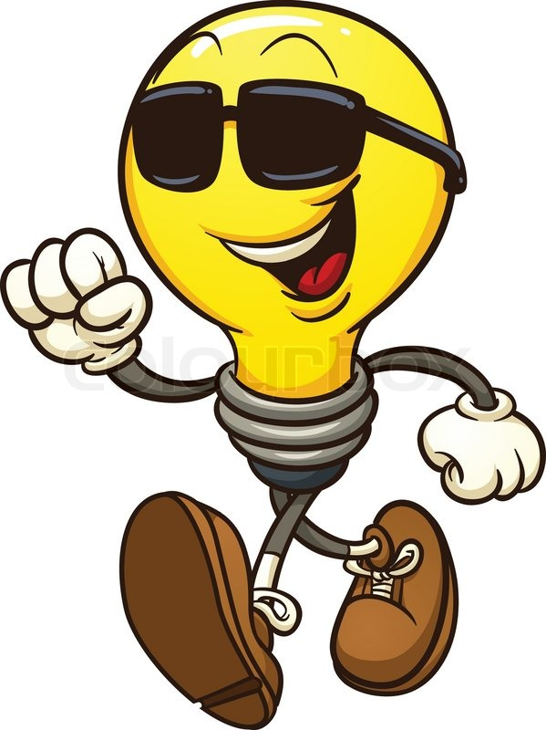 599x800 Cartoon Lightbulb Wearing Shades. Vector Clip Art Illustration