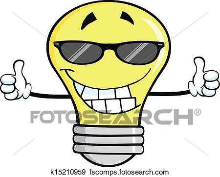 450x363 Clip Art Of Smiling Light Bulb With Sunglasses K15210959