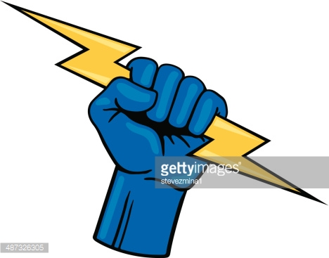 Lightning bolt hand holding. Cartoon pictures free download