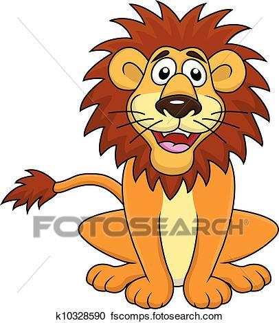 406x470 Clipart Of Funny Lion Cartoon Sitting K10328590