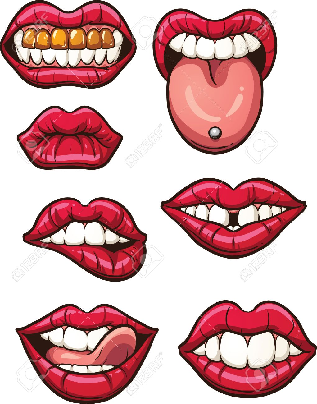1021x1300 Cartoon Lips. Vector Clip Art Illustration With Simple Gradients