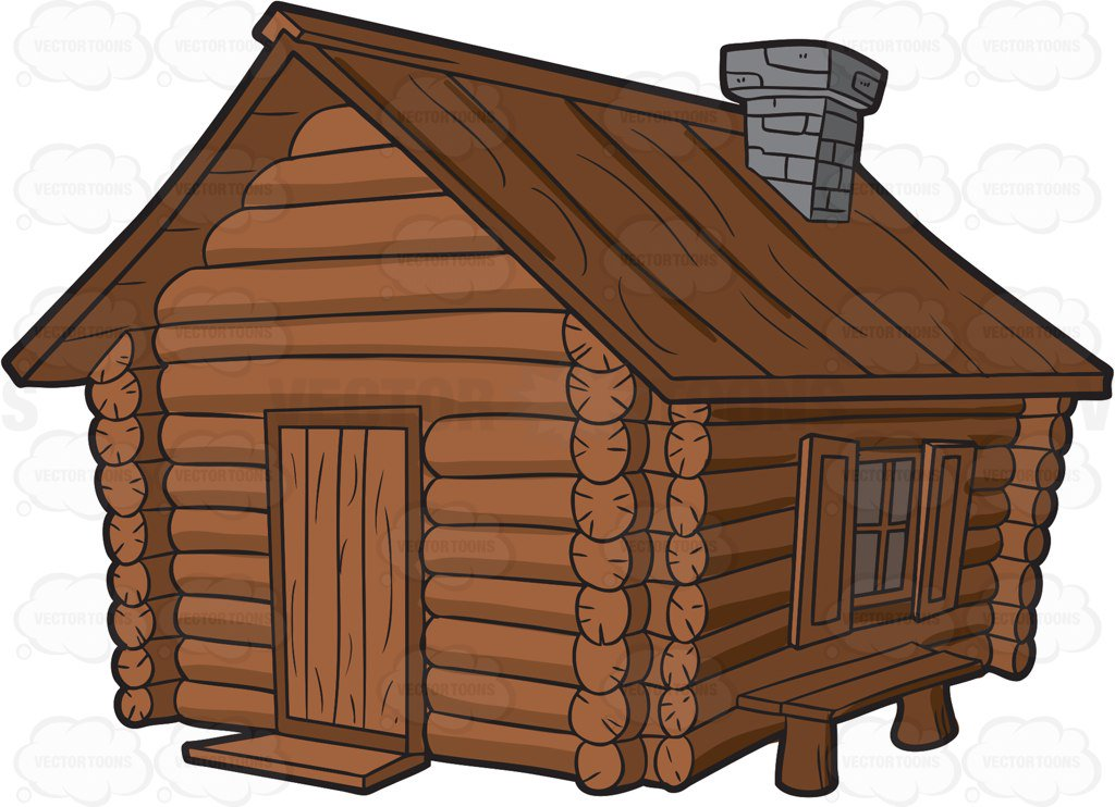 1024x742 A Log Cabin With Chimney And A Bench Cartoon Clipart