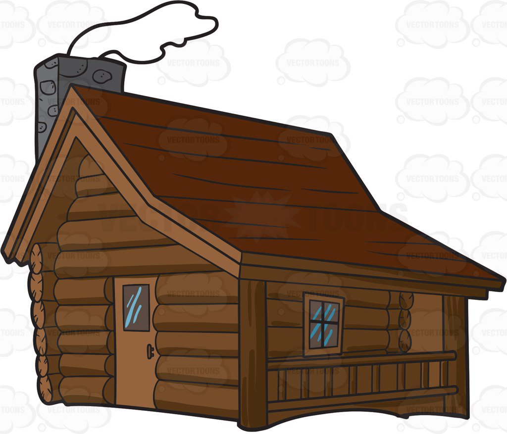 1024x877 A Winter Cabin In The Woods Cartoon Clipart