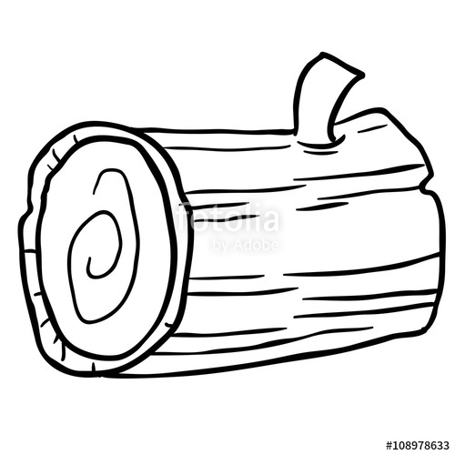 500x500 Black And White Wood Log Cartoon Stock Image And Royalty Free