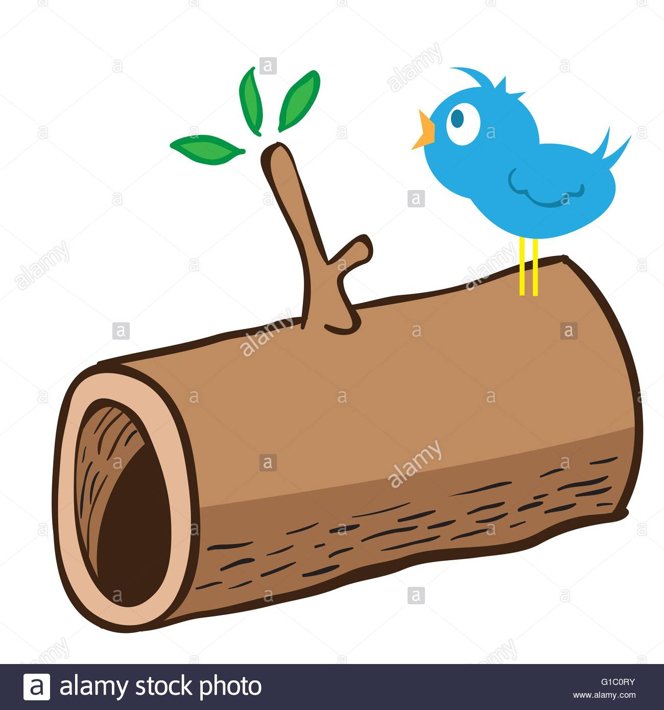 1300x1390 Cartoon Illustration Of Wood Log And A Bird Singing On It Stock