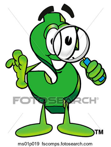 356x470 Clip Art Of Dollar Sign With Magnifying Glass Ms01p019