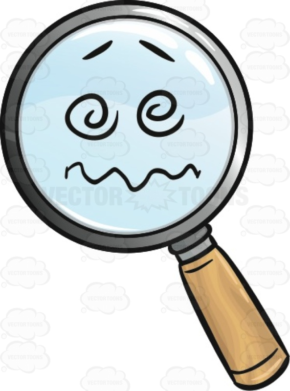 593x800 Confused And Nuts Magnifying Glass Emoji Cartoon Clipart