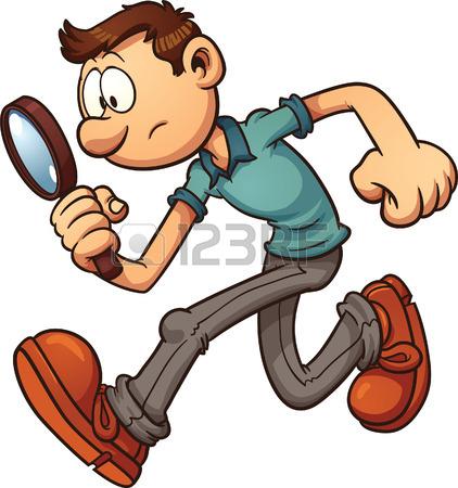 422x450 Cartoon Safari Girl Using A Magnifying Glass. Vector Clip Art