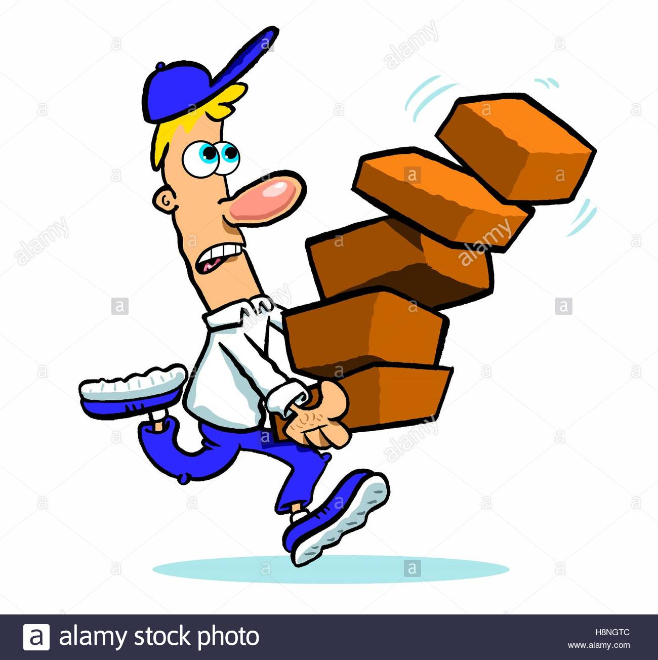1300x1304 Cartoon Man Running With Stack Of Falling Bricks Or Boxes Stock