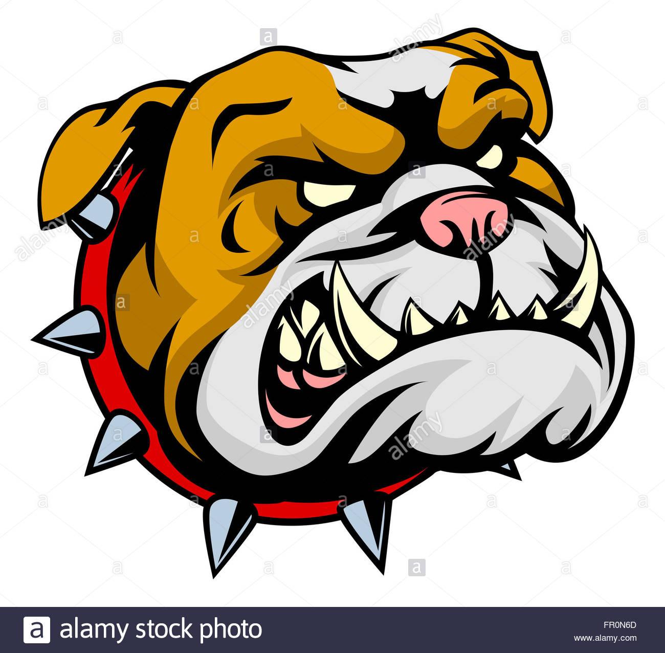 1300x1276 A Mean Looking Cartoon Bulldog Dog In A Spiked Collar Stock Photo
