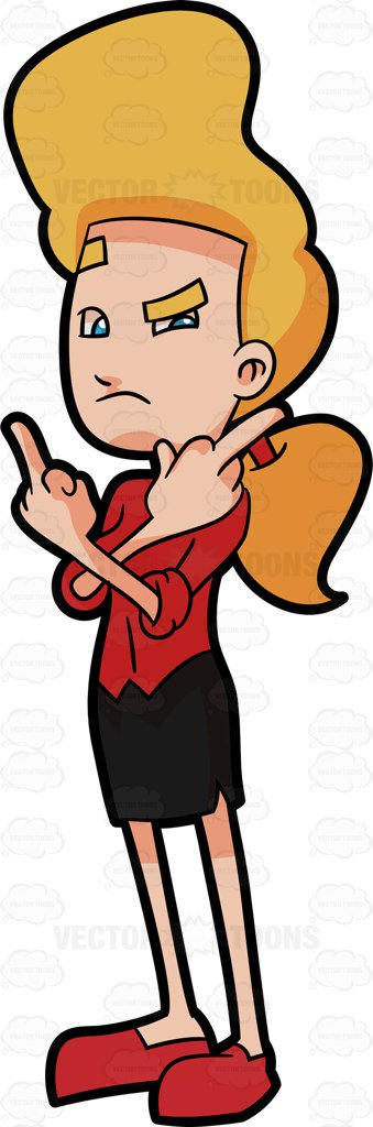 339x1024 An Irritated Woman Giving A Middle Finger Cartoon Clipart