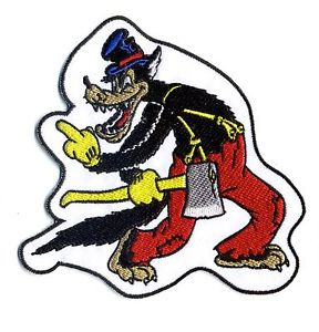 288x300 Big Bad Wolf Patch Middle Finger Wolfy Cartoon With Axe Retro