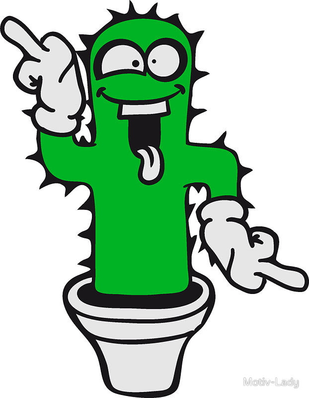 622x800 Middle Finger Cartoon Comic Wichser Dancing Funny Cactus Cactus