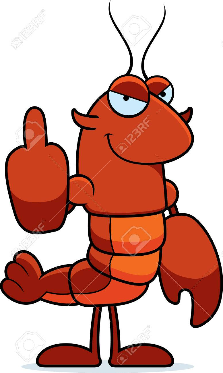 777x1300 A Cartoon Illustration Of A Crawfish Giving The Middle Finger