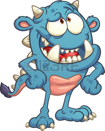 362x450 Laughing Cartoon Monster Vector Clip Art Illustration With Simple