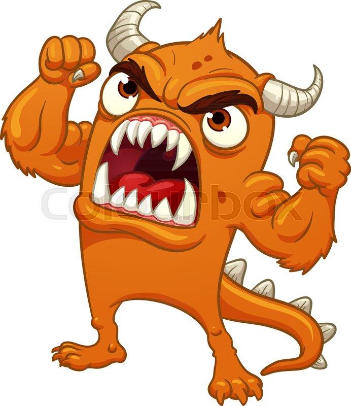 692x800 Orange Cartoon Monster Yelling. Vector Clip Art Illustration