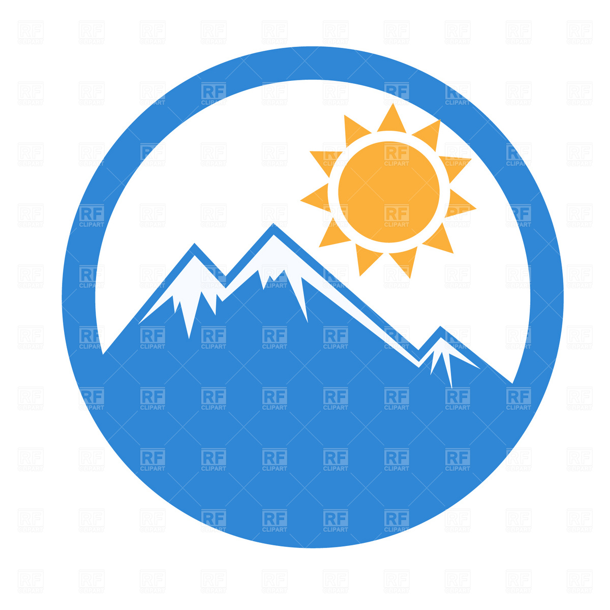 1200x1200 Emblem Mountain And Sun, 1686, Download Royalty Free Vector