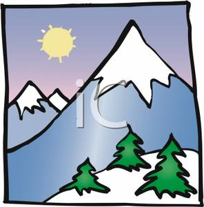 296x300 Bright Sun Behind A Snow Capped Mountain Clip Art Image