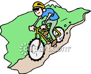 300x243 Man Riding A Mountain Bike Down A Mountain Royalty Free Clipart
