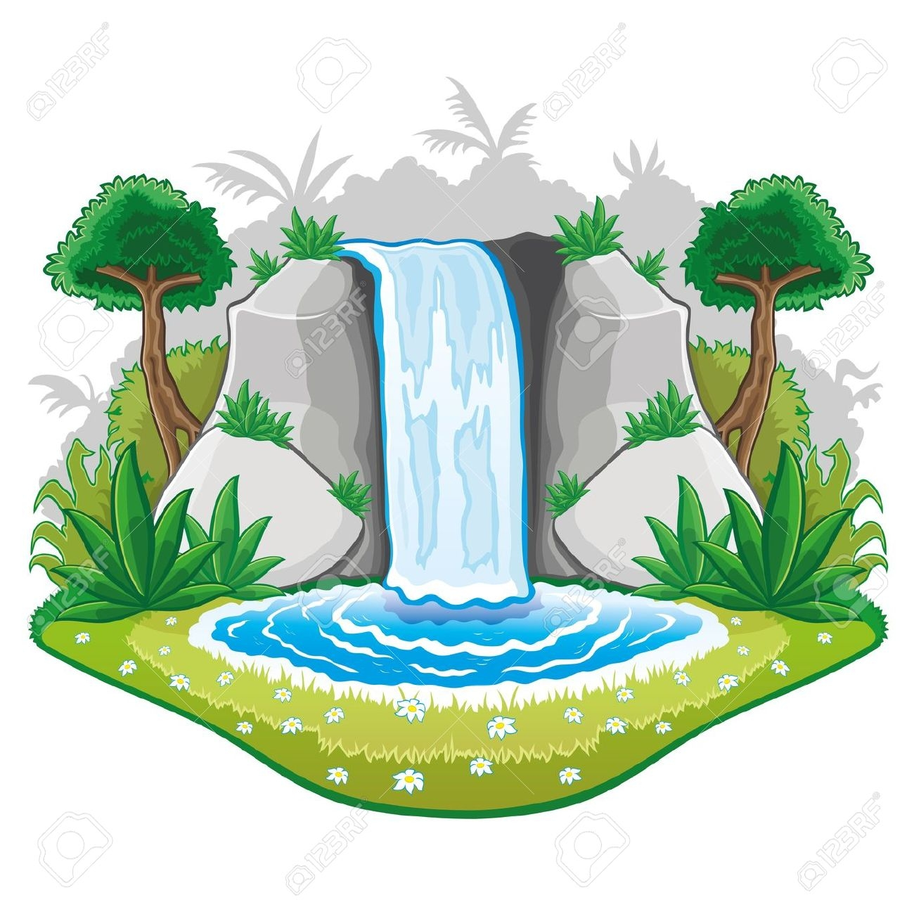 1300x1300 Waterfalls With Mountains Clip Art Cliparts