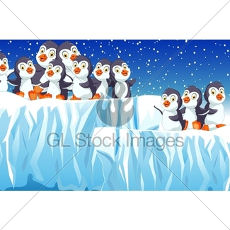 325x325 Funny Penguins Cartoon With Snow Mountain Background Gl Stock Images