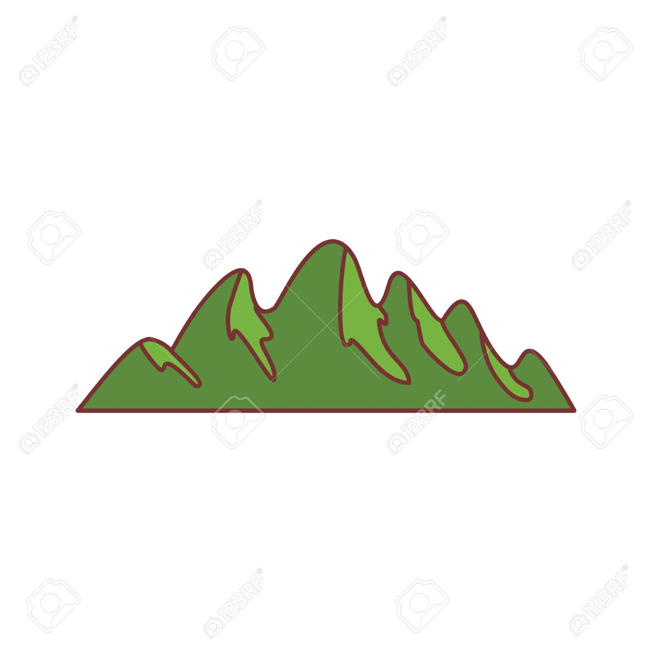 1300x1300 Green Hill Mountain Icon. Cartoon Illustration Of Mountain Vector