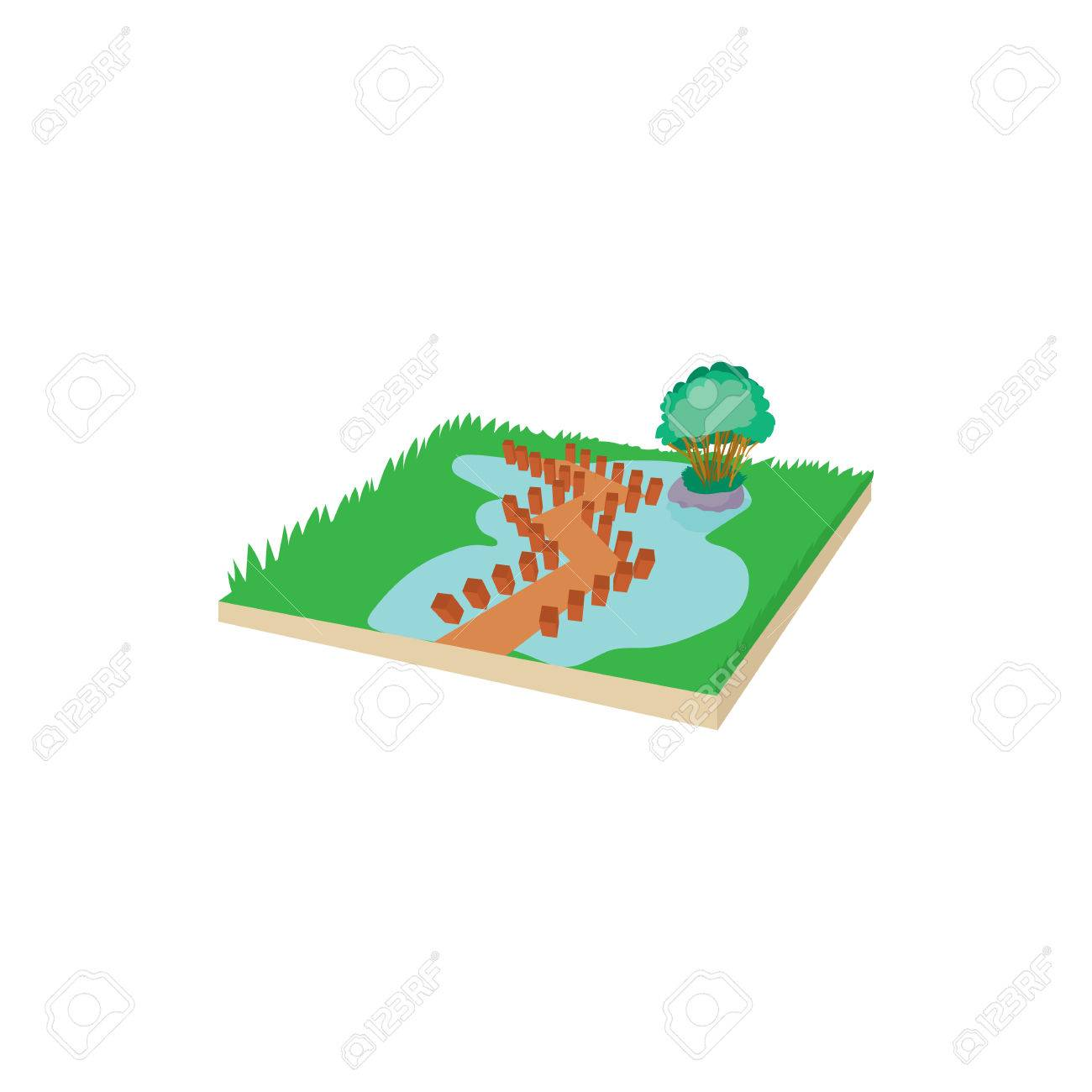 1300x1300 Wooden Bridge On A Mountain Lake Icon In Cartoon Style On A White